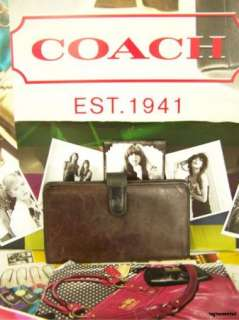COACH Mahogany Brown Leather Checkbook Wallet VTG Distressed with