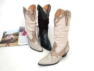 328013 Women Shoes Western Cowboy Style Heels Boots Beiges US