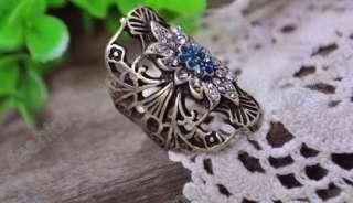 fashion antique bronze crystal flower ring