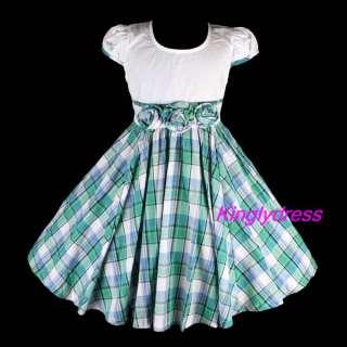 New Girls Spring Summer Party Birthday Dress Wears Children Greens SZ