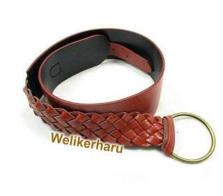 Ladies Thick Braided Brown Leather Waist Belts