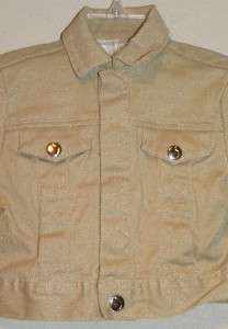 JOES JEANS Todder Girls Tan Khaki Gold Glitter Jacket Sz 2 2T SO