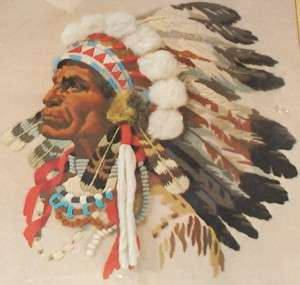 Vintage 1977 Sunset Indian Chief Crewel Stitchery Kit