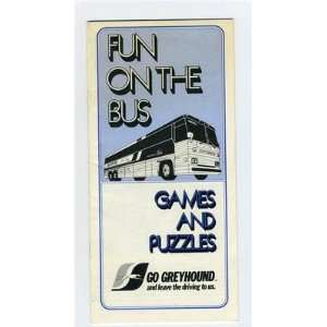 Greyhound Bus Lines FUN ON THE BUS Booklet of Games