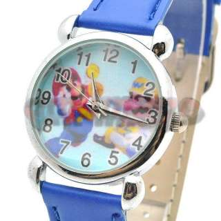 Brand New Super Mario Bros Wario Blue Leather Wrist Watch QT921