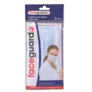 New   Faceguard 5 Pack Latex Free Surgical Face Masks Case