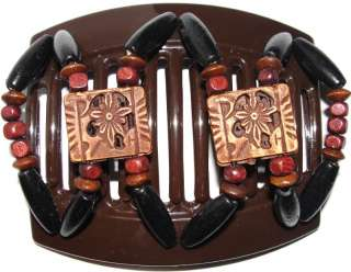 African Butterfly Hair Clip Thick Brown Comb Dupla A18