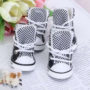 Black and White Check Pet Dog Boots Shoes Sneakers Size 3