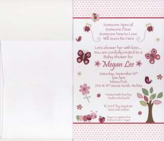 Me Grow Pink Girl Baby Shower Invitations   Butterfly Tree Bird