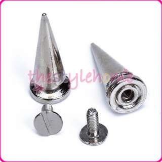 10 Sets Cone Spikes Screwback Spike Studs Leathercraft 25mm Nickel