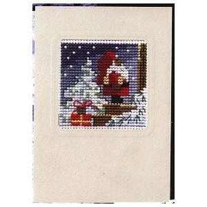 Christmas Card   Santa At Front Door   Cross Stitch Kit