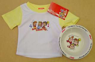 KELLOGGS SNAP CRACKLE POP BABY SHIRT & 3 CEREAL BOWLS