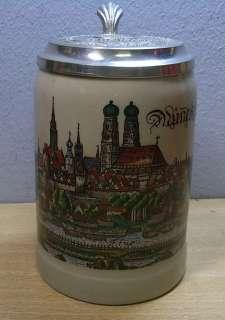 Vintage German Lidded Beer Stein Munich # CD