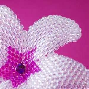 Plumeria Flower   opalescent crystal with fuchsia   beaded flower