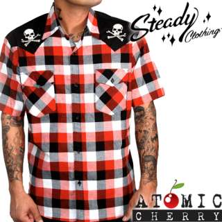 Steady Check Skull Shirt Western Rockabilly Tattoo Punk