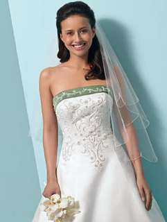 High Quality NEW White satin embroider lace up back wedding dress Free