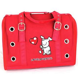 Designer Dog Puppy Heart Cat Pet Travel Carrier Bag Red