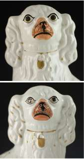 TWO OLD STAFFORDSHIRE PORCELAIN SPANIEL FIGURINES 1850s