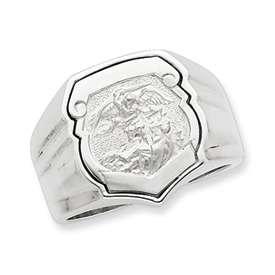 Mens Sterling Silver St Saint Michael Ring Sz 9 18gr