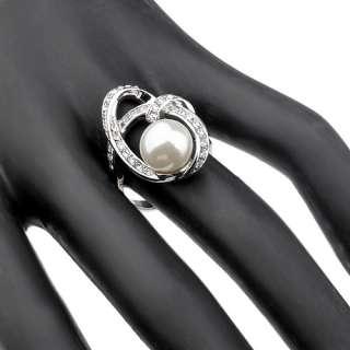 Rhodium Plated Silver tone Multi layer,Swarovski Crystal Pearl Ring