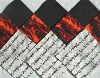 HARLEY DAVIDSON Script Red Flames & Black Quilt Fabric Squares
