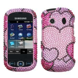 Hearts Crystal Bling Hard Case Phone Cover for Samsung Seek M350