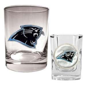 Carolina Panthers NFL Rocks Glass & Shot Glass Set   Primary logo