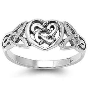 Sterling Silver Celtic Heart Ring   Size 4 Jewelry