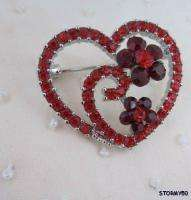 Valentine Red Crystal Heart Flower Cluster Pin Brooch