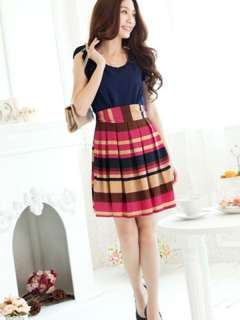 New Fashion Korean Women Spell Color Striped Sleeveless Mini Dress 2