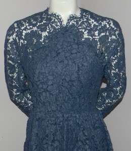 CARVEN Romantic Lace & Cotton Twill Navy Blue Dress 6 / 38 NWT $1295
