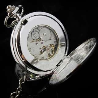 Rare Silver Mechanical Mens Pocket Watch Clock Polish