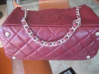 Authentic CHANEL Caviar XL Shopping Tote Bag Pomegranate Red Burgundy