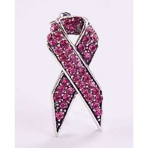 Pink Austrian Rhinestone Ribbon Breast Cancer Awareness Silver Tone