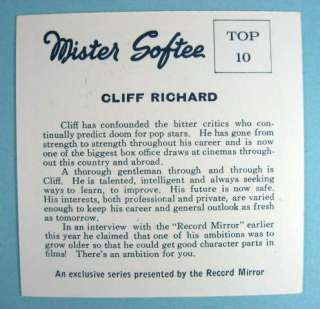 CLIFF RICHARD U.K. 1964 ORIGINAL MISTER SOFTEE CARD