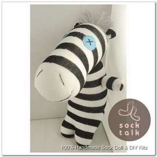 100% Handmade Sock Zebra Stuffed Animals Doll Baby Toy