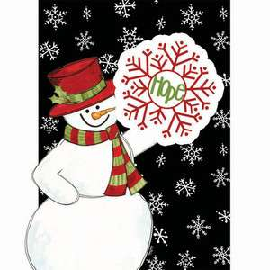 Snowmen Hope Snowflakes Christmas Winter Large House Applique Flag