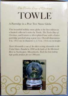 Towle 12 Days Christmas Partridge 1st Ed Snow Globe NIB