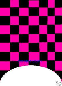 Black and Pink Checkerboard Tip Nail decals Set of 20
