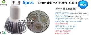 5x Dimmable GU10 9W 100% CREE LED Warm White & Cool White Light Bulb