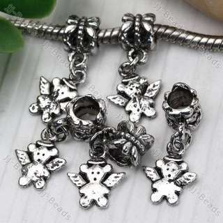 5x Tibetan Silver Little Bear Dangle &European Bead