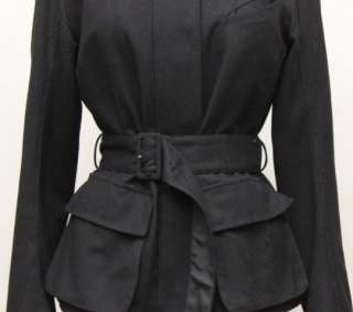 Jil Sander Italian Black Silk Lined Small Ladies Wool Jacket