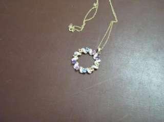 Multi Colored GEMSTONE ETERNITY Gold PENDANT Necklace
