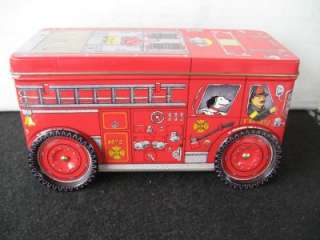 Fire Engine Tin ,Fire Truck Tin , Bank Tin, With Turning wheels