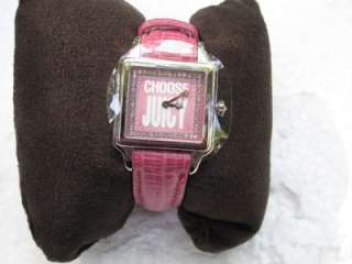 NIB JUICY COUTURE PINK CROC CRYSTAL PIPER WATCH