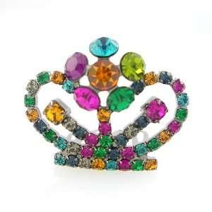 Colorful Swarovski Crystal Mini Tiara Comb 1.25 Wide Beauty