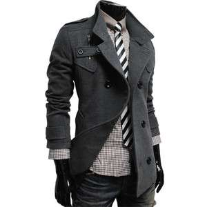 MAK) THELEES Mens casual double breasted high neck wool coat jacket