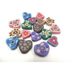 20 Fimo Polymer Clay Heart Beads 15mm 20mm Assorted Colors