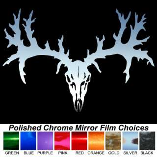 Deer Skull Hunting Chrome Auto Window Stickers Decals