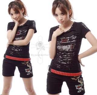 Unisex Visual Kei Fierce Fire RED STUDS 2RW Stud Goth Rock Leather